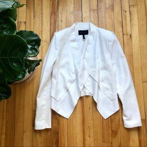 BCBGMaxazria cream drape front blazer